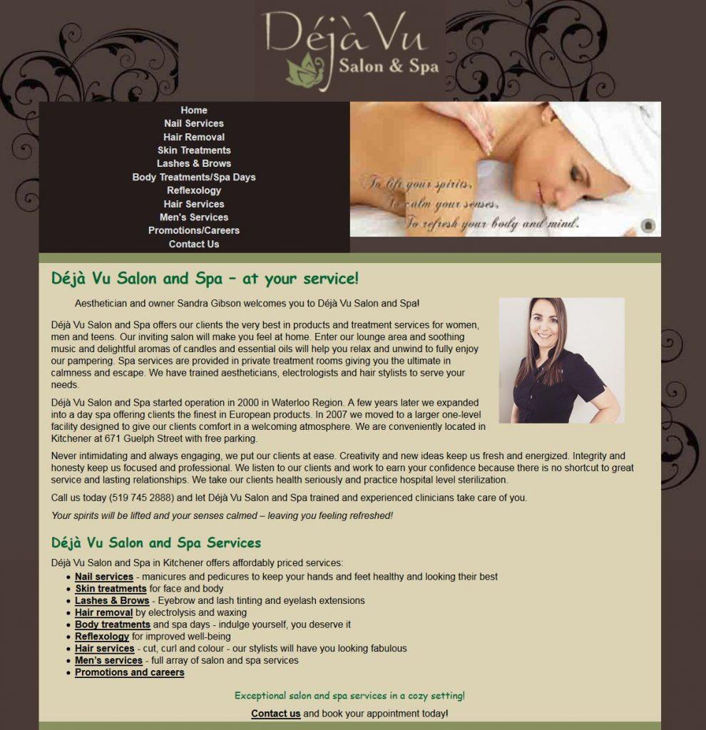Spa web site done in HTML & Dreamweaver