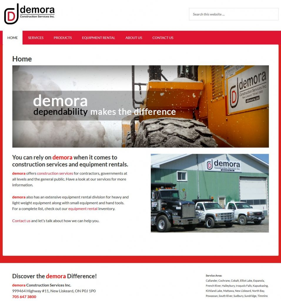 Demora Construction - web site done in WordPress