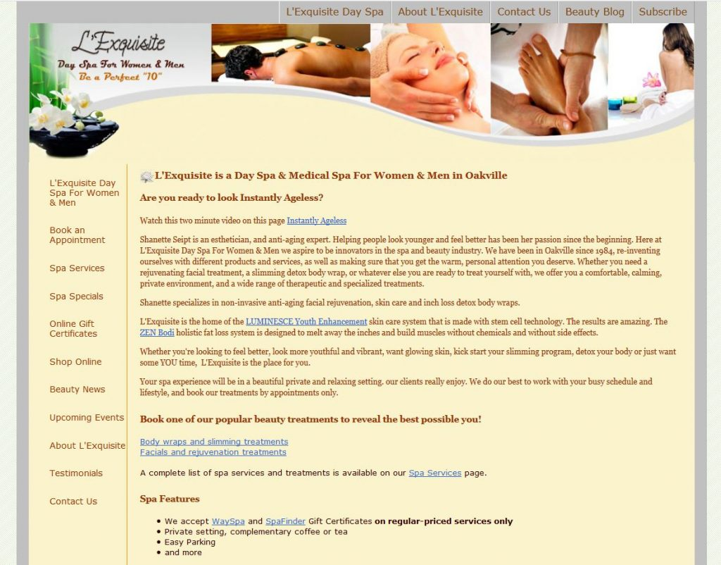 A Spa web site built in HTML and Dreamweaver